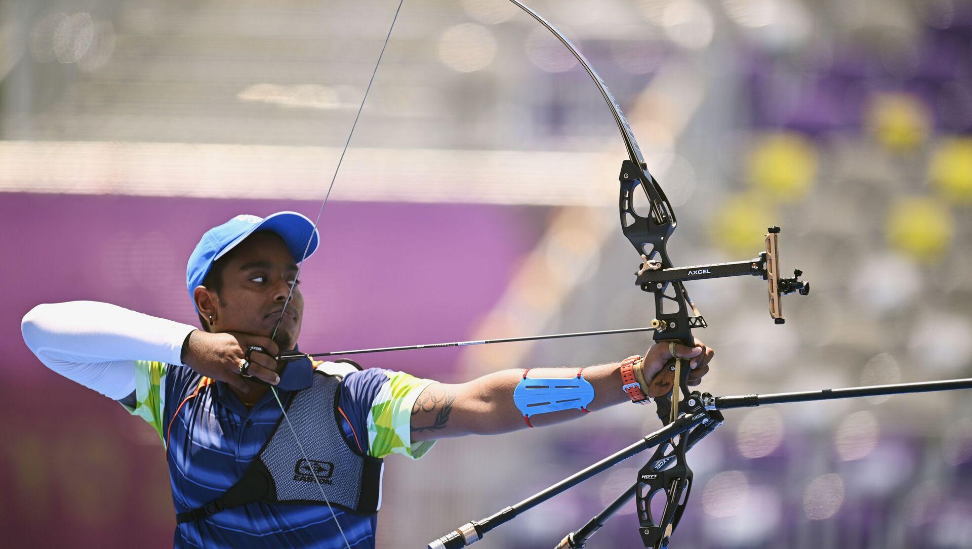 Tokyo 2020 Olympics - Archery - Men's Individual - 1/16 Finals - Yumenoshima Archery Field, Tokyo, Japan - July 29, 2021. Atanu Das of India in action  - Sputnik International, 1920, 29.07.2021