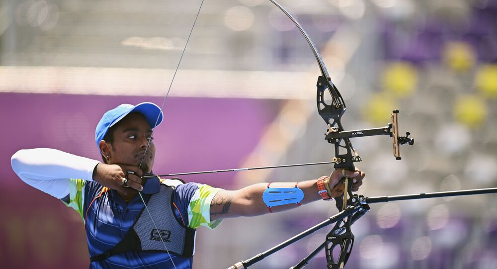 Tokyo 2020 Olympics - Archery - Men's Individual - 1/16 Finals - Yumenoshima Archery Field, Tokyo, Japan - July 29, 2021. Atanu Das of India in action