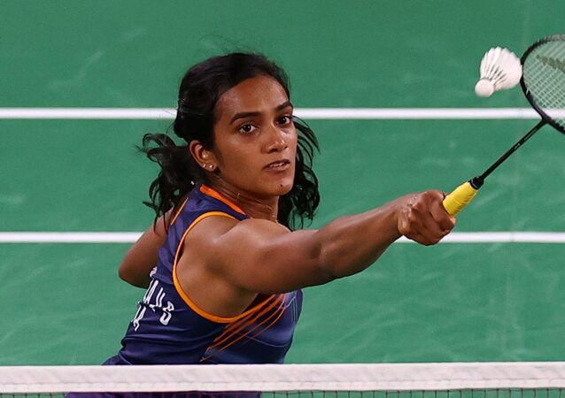 P.V. Sindhu of India in action during the match against Ksenia Polikarpova of Israel
