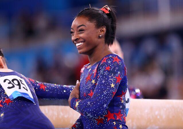 Tokyo 2020 Olympics - Gymnastics - Artistic - Women's Individual All-Around - Qualification - Ariake Gymnastics Centre, Tokyo, Japan - July 25, 2021. Simone Biles of the United States reacts