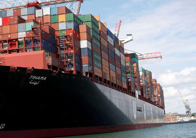 A ship at the port of Southampton