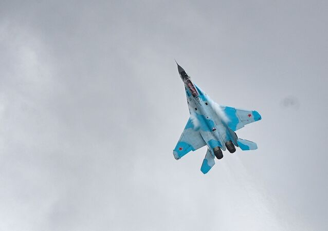 Upgraded Russian fourth-generation jet Su-35 NATO reporting names: Flanker-E) during MAKS-2021 air show