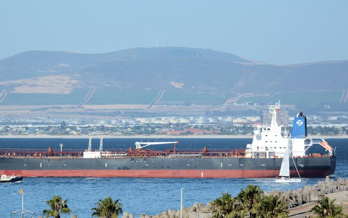 The Mercer Street, a Japanese-owned Liberian-flagged tanker managed by Israeli-owned Zodiac Maritime that was attacked off Oman coast as seen in Cape Town, South Africa, January 2, 2016 in this picture obtained from ship tracker website, MarineTraffic.com. Picture taken January 2, 2016.  Johan Victor/Handout via REUTERS THIS IMAGE HAS BEEN SUPPLIED BY A THIRD PARTY. MANDATORY CREDIT. NO RESALES. NO ARCHIVES.