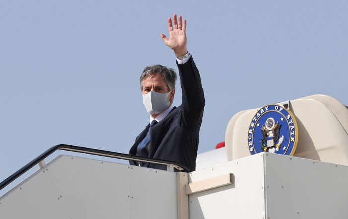 U.S. Secretary of State Antony Blinken boards his plane to depart for his return to the United States from Kuwait International Airport in Kuwait City, Kuwait, July 29, 2021