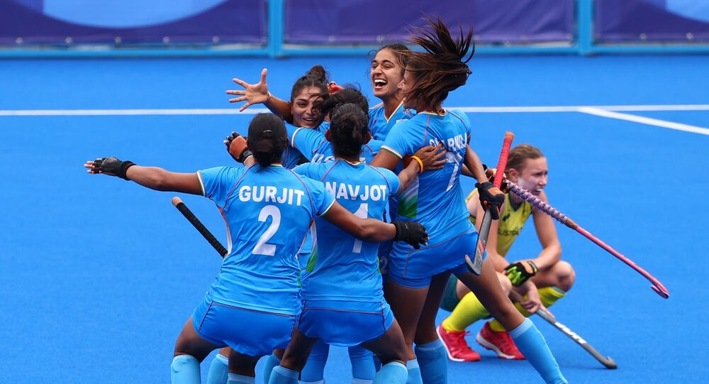 Tokyo 2020 Olympics - Hockey - Women - Quarterfinal - Australia v India - Oi Hockey Stadium, Tokyo, Japan - 2 August 2021. Players of India celebrate after winning their match.