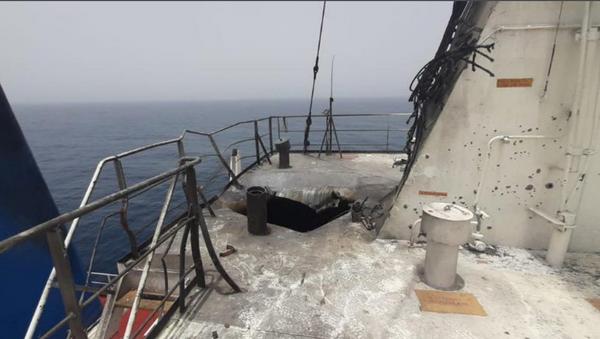 Unconfirmed image of the Mercer Street tanker provided by Or Heller, correspondent for Israel's Channel 10 News - Sputnik International