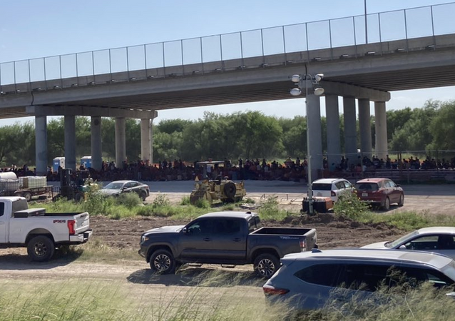 Situation at the Customs and Border Patrol's migrant processing facility underneath the Anzalduas International Bridge in Mission, Texas.
