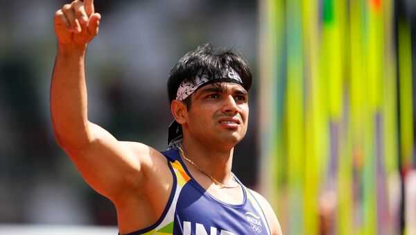 Tokyo 2020 Olympics - Athletics - Men's Javelin Throw - Qualification - Olympic Stadium, Tokyo, Japan - August 4, 2021. Neeraj Chopra of India reacts  - Sputnik International
