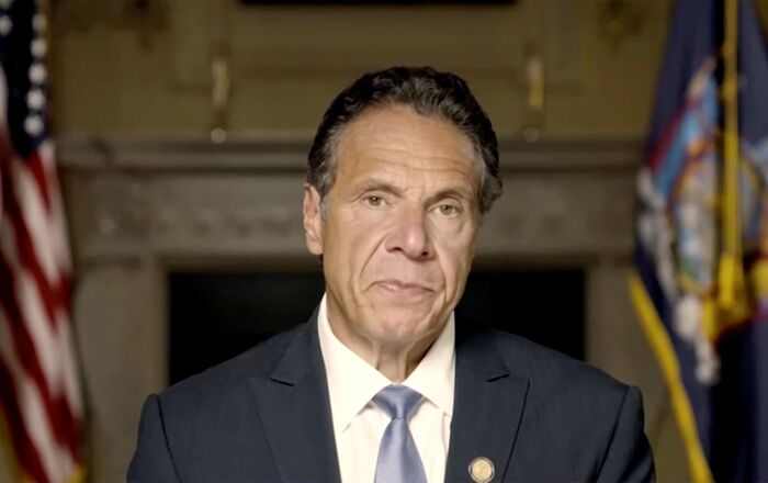 New York Governor Andrew Cuomo makes a statement in this screen grab taken from a pre-recorded video released by Office of the NY Governor, in New York, U.S., August 3, 2021.