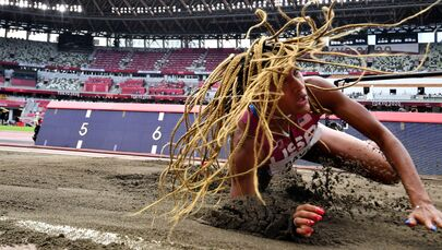 Tara Davis of the United States in action.  Athletics - Women's Long Jump - Final