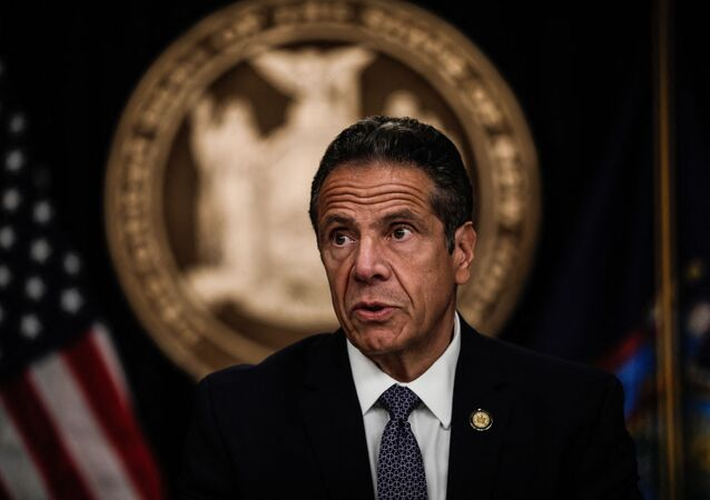 NEW YORK, NY - JULY 01: New York Gov. Andrew Cuomo speaks at a news conference on July 1, 2020 in New York City. The governor expressed alarm at Director of the National Institute for Allergy and Infectious Diseases Dr. Anthony Fauci's recent prediction that there could be 100,000 new Covid-19 cases per day and provided a number of updates related to an increase of states where out-of-state visitors will be required to quarantine for 14 days.