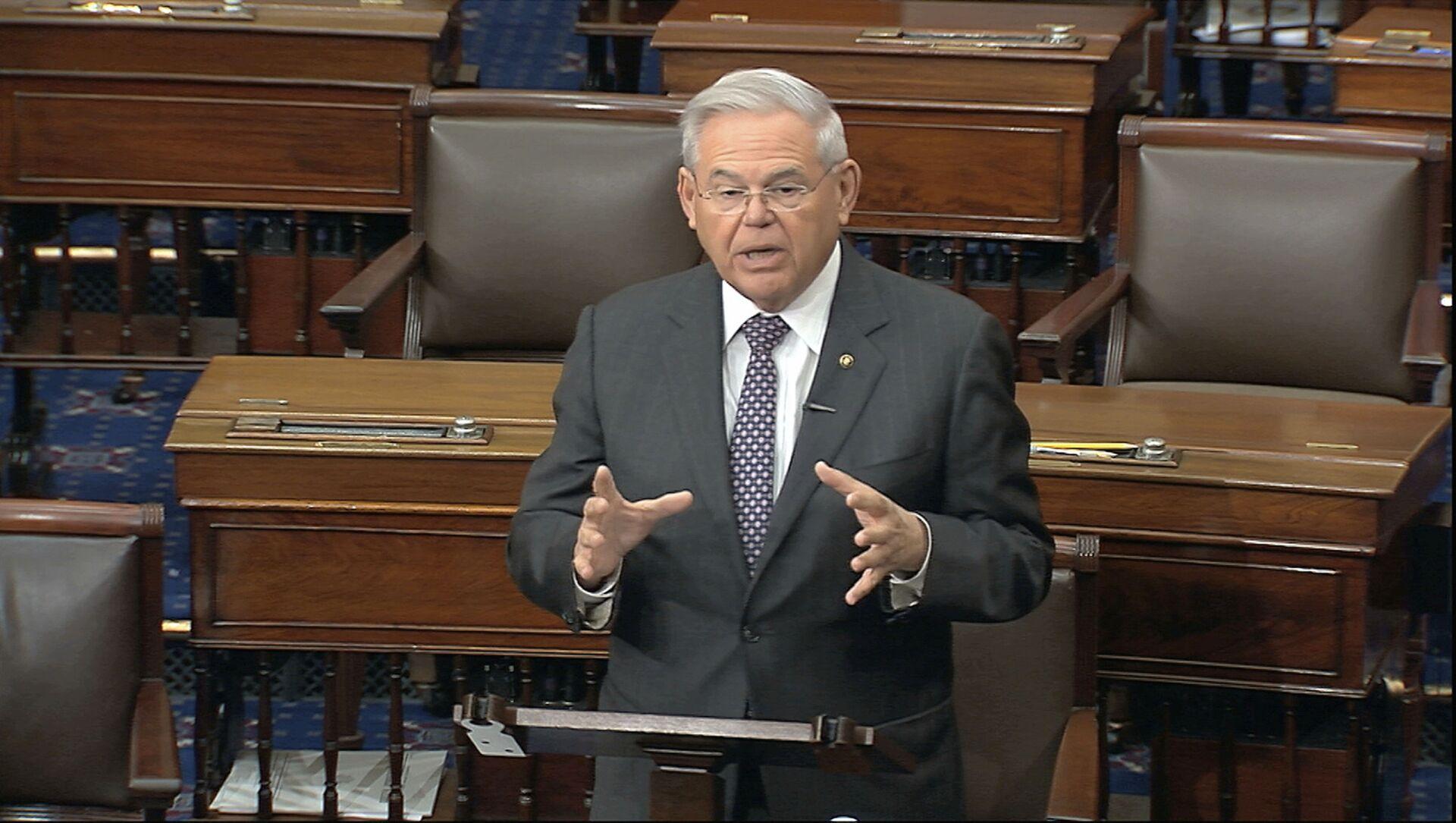 In this image from video, Sen. Robert Menendez, D-N.J., speaks on the Senate floor at the U.S. Capitol in Washington, Tuesday, March 17, 2020. - Sputnik International, 1920, 05.08.2021