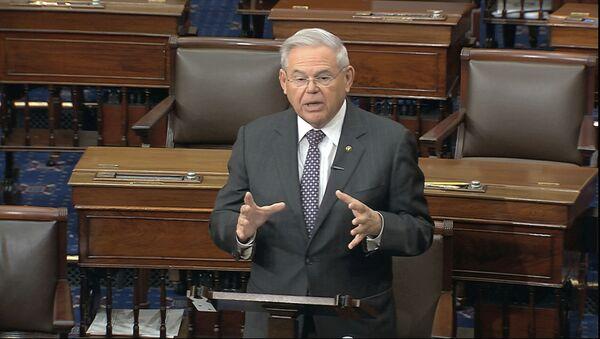 In this image from video, Sen. Robert Menendez, D-N.J., speaks on the Senate floor at the U.S. Capitol in Washington, Tuesday, March 17, 2020. - Sputnik International