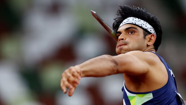 Neeraj Chopra of India in action  - Sputnik International