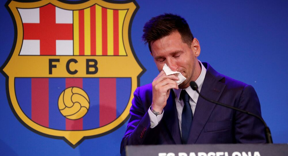 Soccer Football - Lionel Messi holds an FC Barcelona press conference - 1899 Auditorium, Camp Nou, Barcelona, Spain - August 8, 2021 Lionel Messi during the press conference REUTERS/Albert Gea TPX IMAGES OF THE DAY