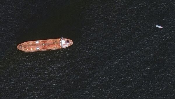 A satellite image shows the damaged Mercer Street Tanker moored off the coast of Fujairah, United Arab Emirates, August 4, 2021 - Sputnik International