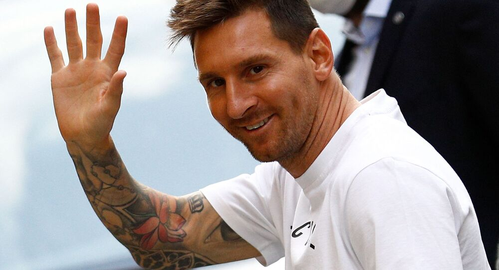 Argentinian football player Lionel Messi arrives at the Royal Monceau hotel in Paris on August 10, 2021, as the football legend is expected to sign an initial two-year deal with Paris Saint-Germain football club following his departure from boyhood club Barcelona