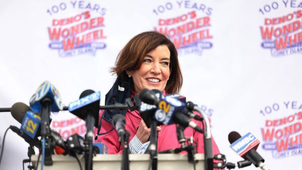 NY Lieutenant-Governor, Kathy Hochul, speaks during a Coney Island parks reopening event in the Coney Island neighborhood of Brooklyn borough on 9 April 2021 in New York City, New York, US. - Sputnik International