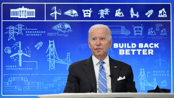 President Joe Biden speaks during a virtual meeting from the South Court Auditorium at the White House complex in Washington, Wednesday, Aug. 11, 2021, to discuss the importance of the bipartisan Infrastructure Investment and Jobs Act. - Sputnik International