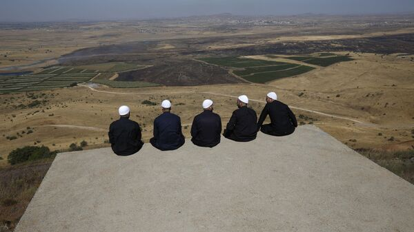 Druze men at the Israeli-annexed Golan Heights look out across the southwestern Syrian province of Quneitra, visible across the border on July 7, 2018  - Sputnik International