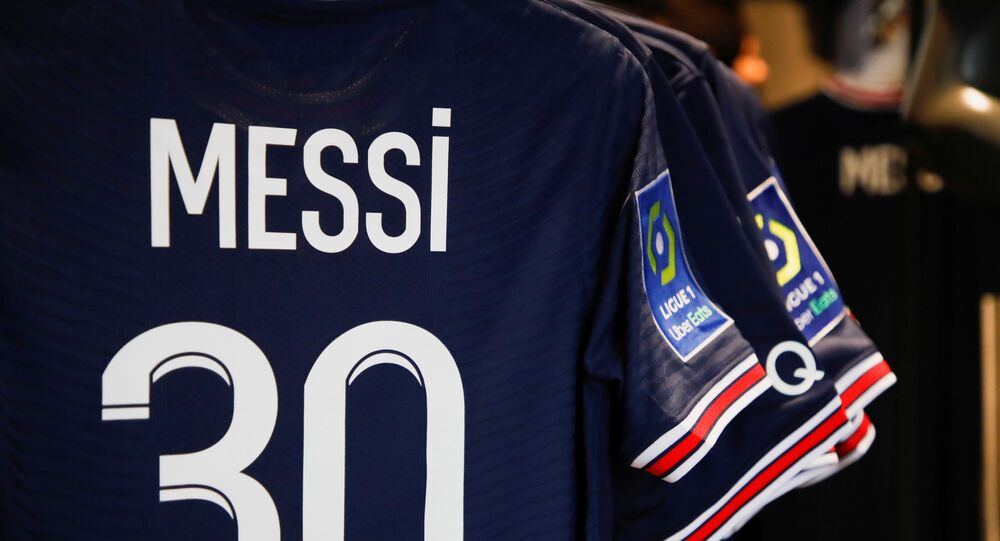 Paris St Germain Messi football jerseys are displayed inside a Paris St Germain shop in Paris, France, August 11, 2021.