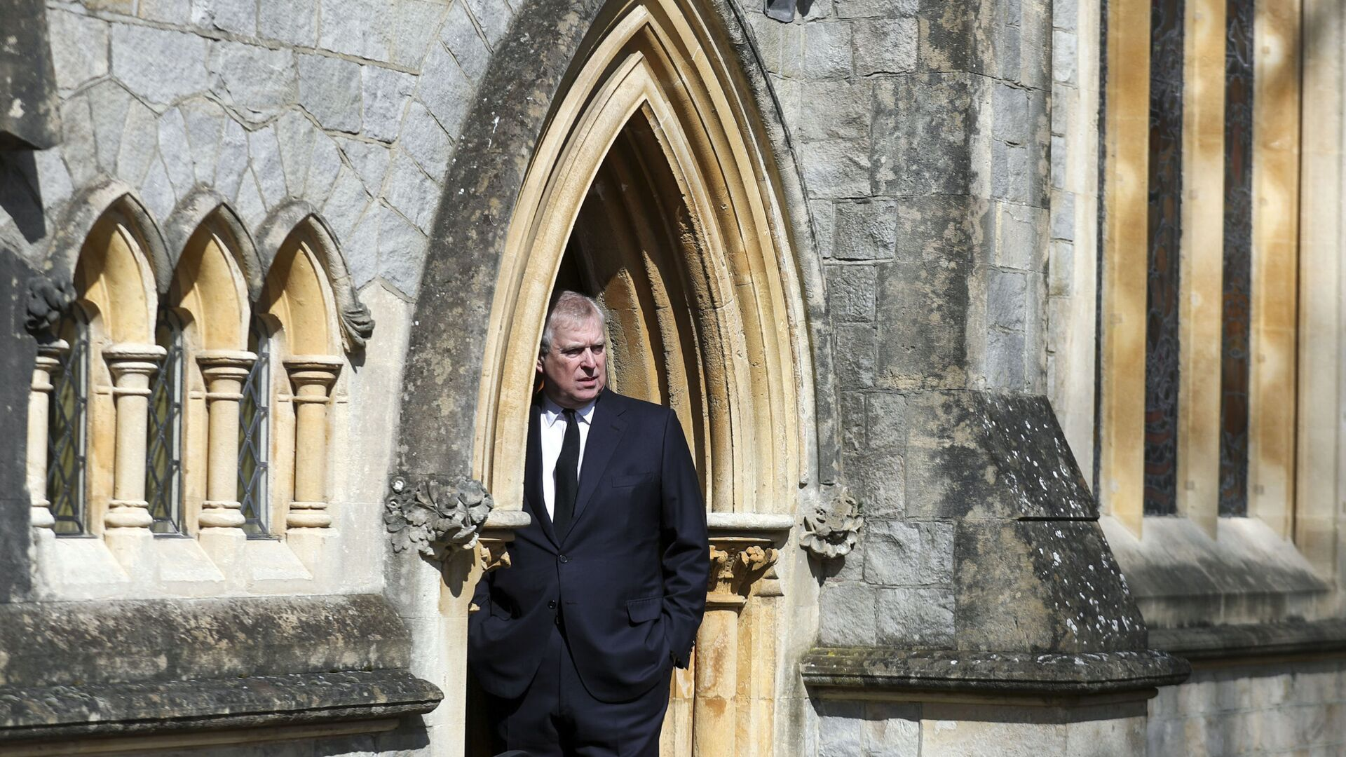 Britain's Prince Andrew attends the Sunday service at the Royal Chapel of All Saints at Royal Lodge, Windsor, following the death announcement of his father, Prince Philip, in England, Sunday, April 11, 2021. - Sputnik International, 1920, 10.09.2021