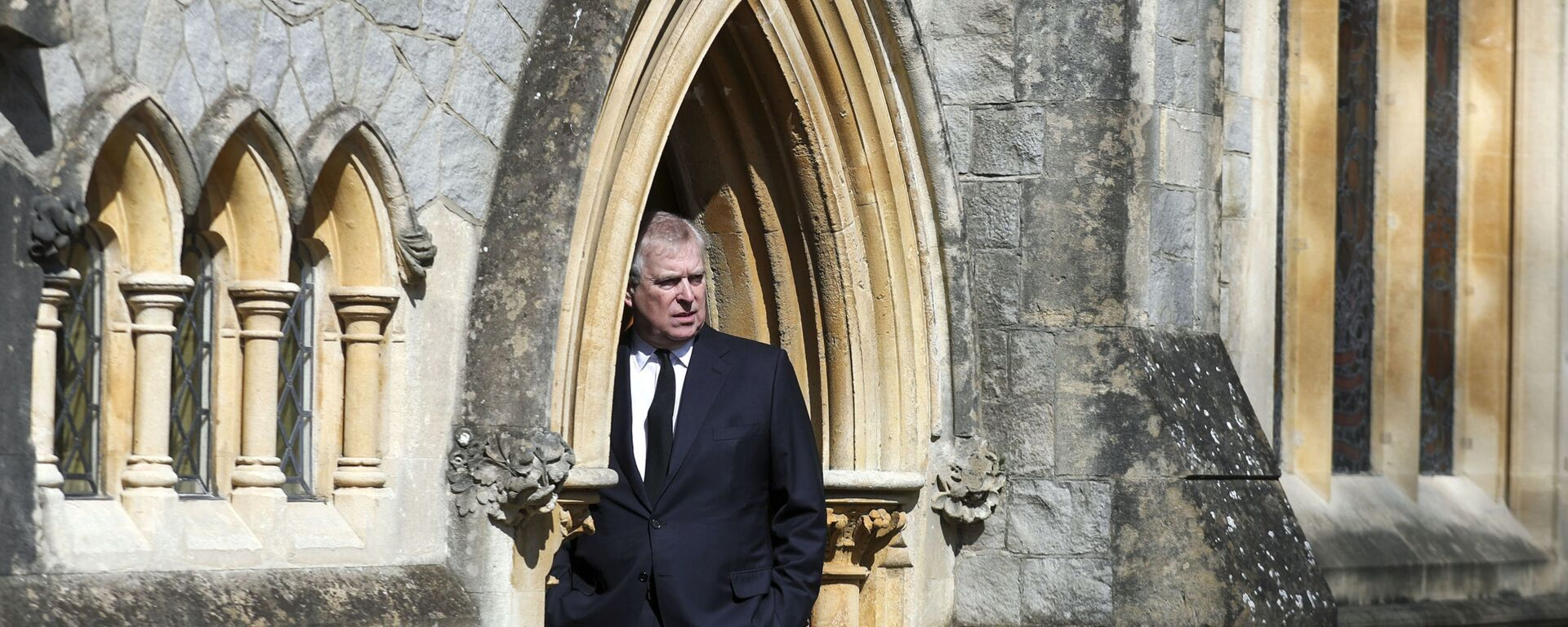 Britain's Prince Andrew attends the Sunday service at the Royal Chapel of All Saints at Royal Lodge, Windsor, following the death announcement of his father, Prince Philip, in England, Sunday, April 11, 2021. - Sputnik International, 1920, 11.09.2021
