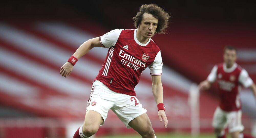 Arsenal's David Luiz during the English Premier League soccer match between Arsenal and Spurs at the Emirates stadium in London, England, on Sunday, 14 March 2021.