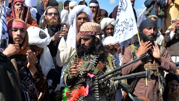 Afghan Taliban militants and villagers attend a gathering as they celebrate the peace deal and their victory in the Afghan conflict on US in Afghanistan, in Alingar district of Laghman Province on March 2, 2020 - Sputnik International