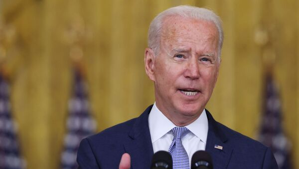 U.S. President Joe Biden discusses his 'Build Back Better' agenda and administration efforts to lower prescription drug prices during a speech in the East Room at the White House in Washington, U.S., August 12, 2021. - Sputnik International