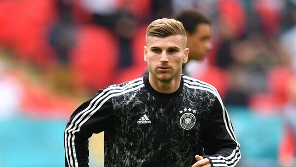 Germany's forward Timo Werner warms up ahead of the UEFA EURO 2020 round of 16 football match between England and Germany at Wembley Stadium in London on June 29, 2021 - Sputnik International