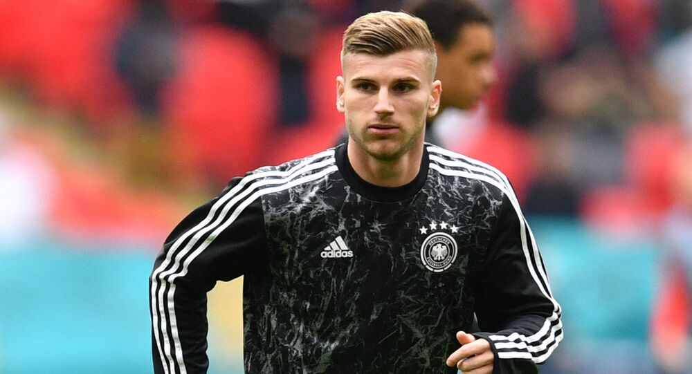 Germany's forward Timo Werner warms up ahead of the UEFA EURO 2020 round of 16 football match between England and Germany at Wembley Stadium in London on June 29, 2021