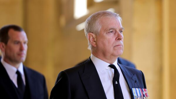 Britain's Britain's Prince Andrew, Duke of York, looks on during the funeral of Britain's Prince Philip, husband of Queen Elizabeth, who died at the age of 99, on the grounds of Windsor Castle in Windsor, Britain, April 17, 2021.  - Sputnik International