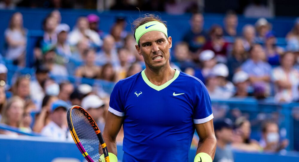 Rafael Nadal of Spain reacts during the Citi Open at Rock Creek Park Tennis Center