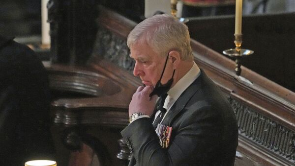 Britain's Prince Andrew stands inside St. George's Chapel during the funeral of his father, Prince Philip, at Windsor Castle, Windsor, England, Saturday April 17, 2021. - Sputnik International