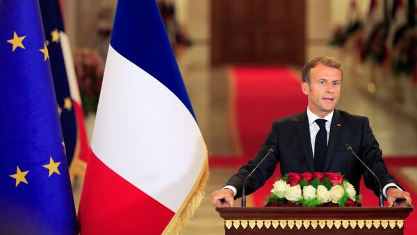 France's President Emmanuel Macron speaks during a news conference with Iraq's President Barham Salih (not seen) ahead of the Baghdad summit at the Green Zone in Baghdad, Iraq August 28, 2021 - Sputnik International