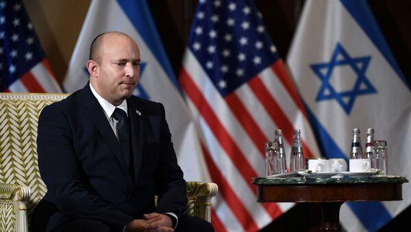 Israeli Prime Minister Naftali Bennett listens during a meeting with U.S. Secretary of State Antony Blinken at the Willard Hotel in Washington, D.C., U.S. August 25, 2021. - Sputnik International