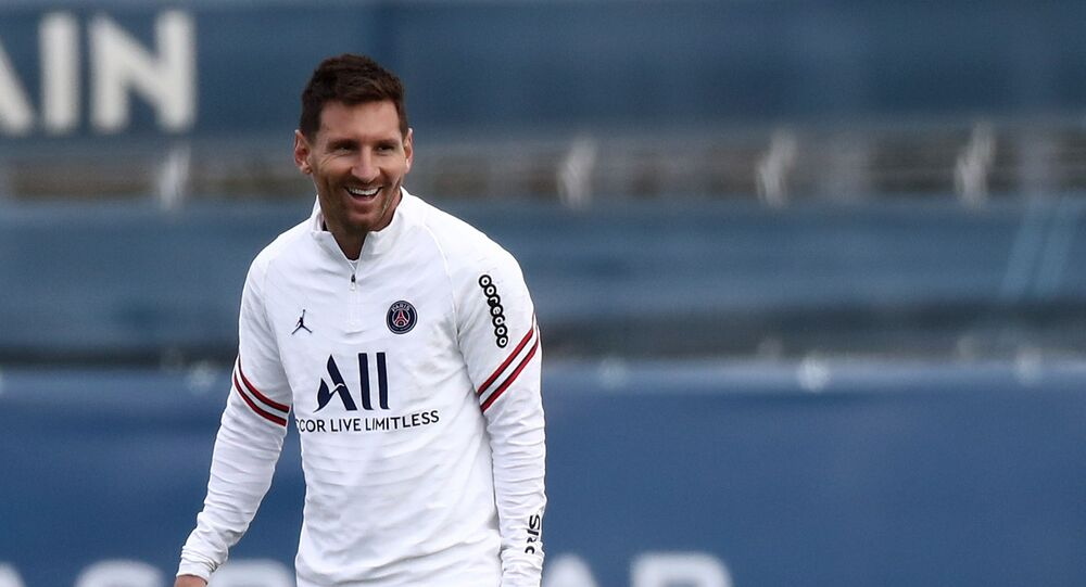 Paris St Germain's Lionel Messi during training, 28 August 2021