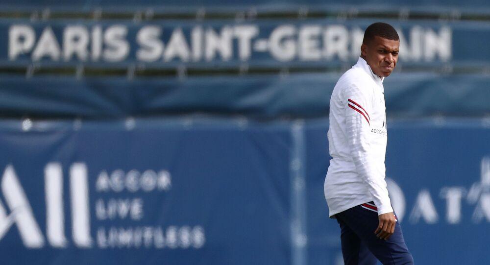 Ooredoo Training Centre, Saint-Germain-en-Laye, France - August 28, 2021 Paris St Germain's Kylian Mbappe during training