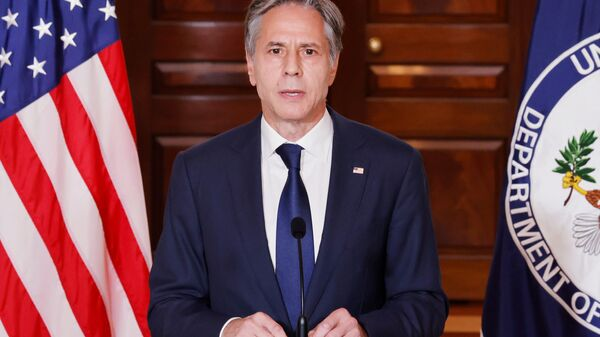 U.S. Secretary of State Antony Blinken delivers remarks following talks on the situation in Afghanistan, at the State Department in Washington, U.S., August 30, 2021 - Sputnik International