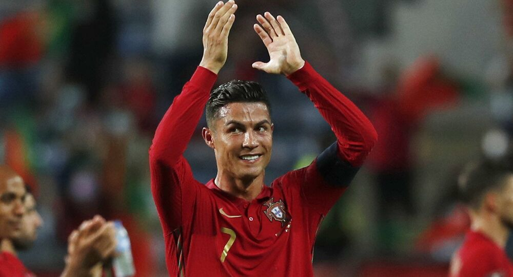 Soccer Football - World Cup - UEFA Qualifiers - Group A - Portugal v Republic of Ireland - Estadio Algarve, Almancil, Portugal - September 1, 2021 Portugal's Cristiano Ronaldo celebrates after the match