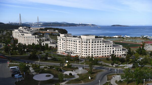 View of the campus of the Far Eastern Federal University (FEFU) on the shores of the Ajax Bay in Vladivostok, Russia where the Eastern Economic Forum (EEF) will be held between 2 and 4 September 2021. - Sputnik International
