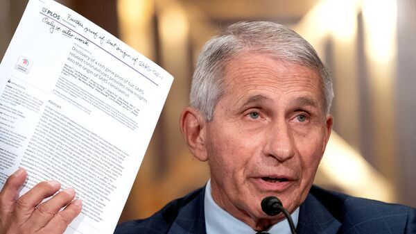 Dr. Anthony Fauci, director of the National Institute of Allergy and Infectious Diseases, speaks during a Senate Health, Education, Labor, and Pensions Committee hearing at the Dirksen Senate Office Building in Washington, D.C., U.S., July 20, 2021. - Sputnik International