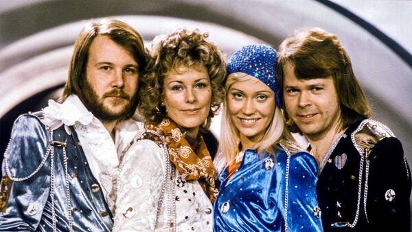 Swedish pop group Abba: Benny Andersson, Anni-Frid Lyngstad, Agnetha Faltskog and Bjorn Ulvaeus pose after winning the Swedish branch of the Eurovision Song Contest with their song Waterloo, February 9, 1974. - Sputnik International