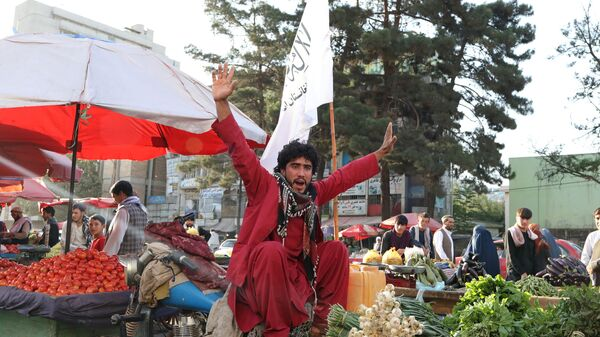 An Afghan street vendor and supporter of the Islamic Emirate of Afghanistan chants in support of the Taliban in Kabul, Afghanistan September 1, 2021.  - Sputnik International