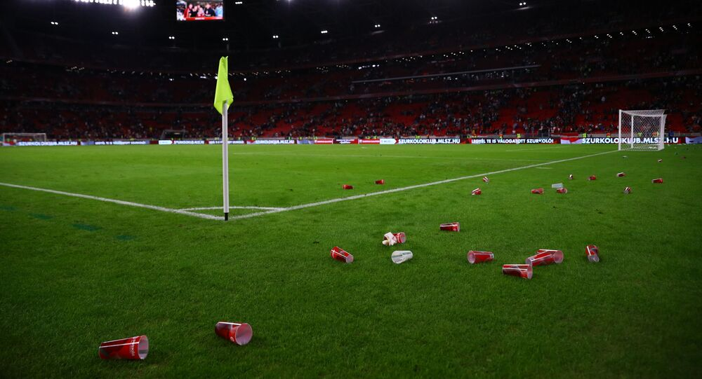 UEFA Qualifiers - Group I - Hungary v England - Puskas Arena, Budapest, Hungary - 2 September 2021 General view of plastic cups seen on the pitch after the match