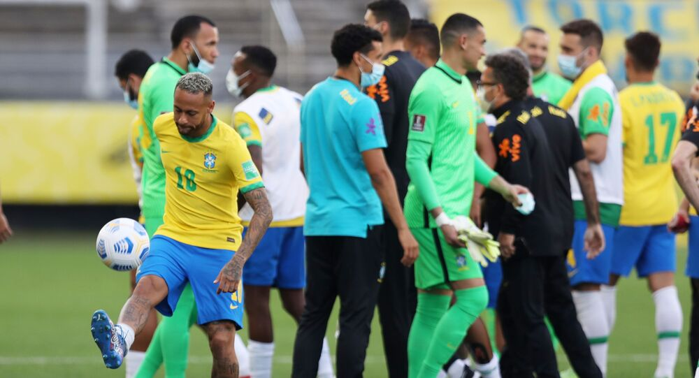 Brazil's Neymar as play is interrupted after Brazilian health officials objected to the participation of three Argentine players they say broke quarantine rules