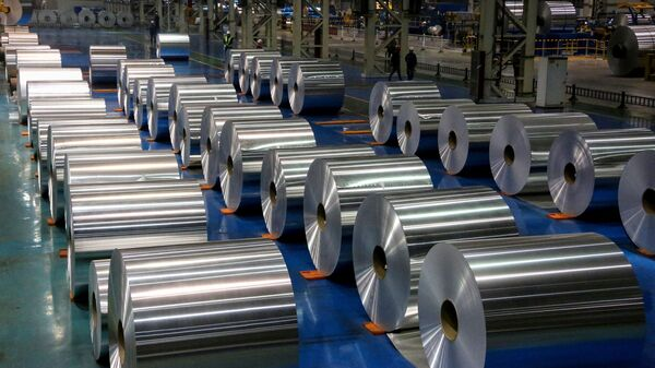 This picture taken on 23 November 2019 shows rolls of aluminium at a factory in Zouping in China's eastern Shandong province - Sputnik International