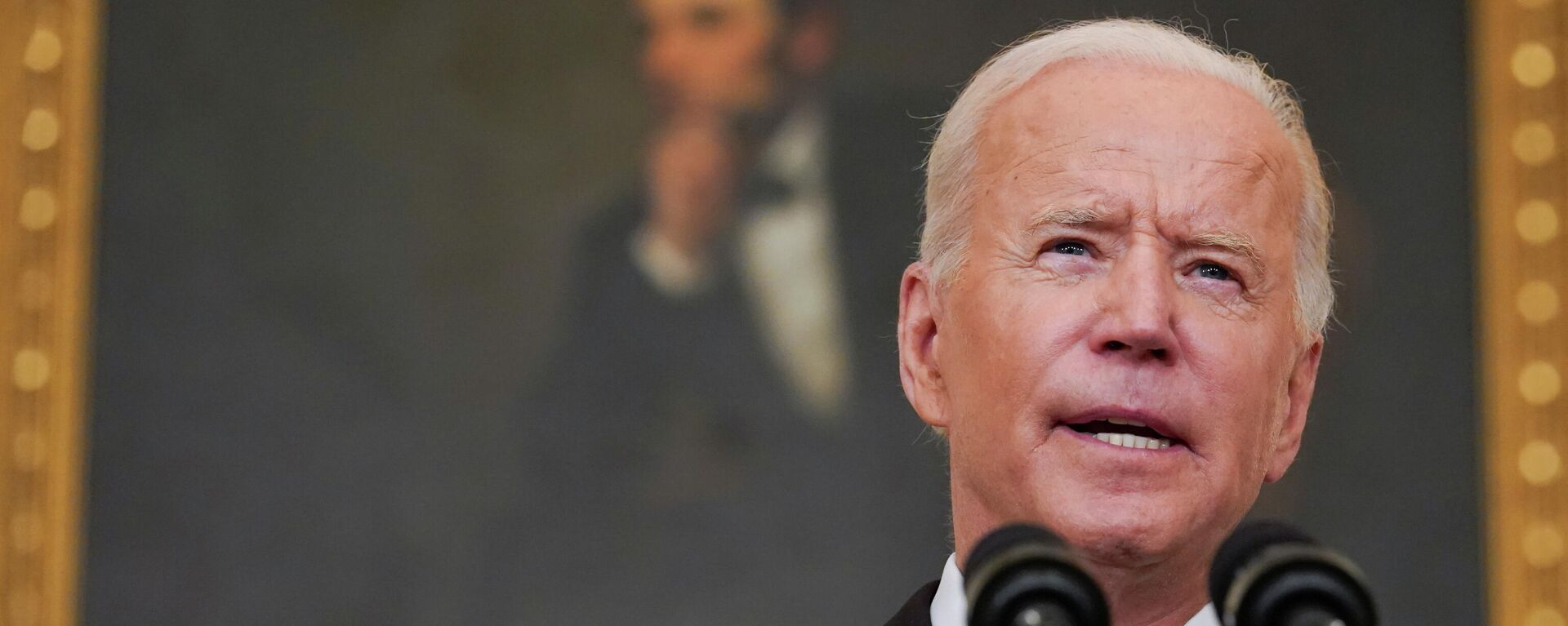US President Joe Biden delivers remarks on the Delta variant and his administration's efforts to increase vaccinations, from the State Dining Room of the White House in Washington, US, September 9, 2021 - Sputnik International, 1920, 14.09.2021