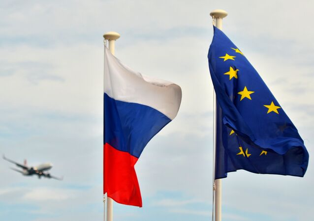 Russian flag and EU flag. Nice